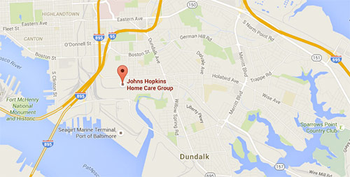 Map of Johns Hopkins Home Care Group