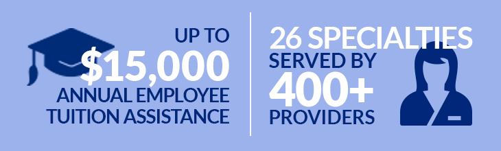 Up to $15,000 Annual Employee Tuition Assistance | 26 Specialties Served By 400+ Providers